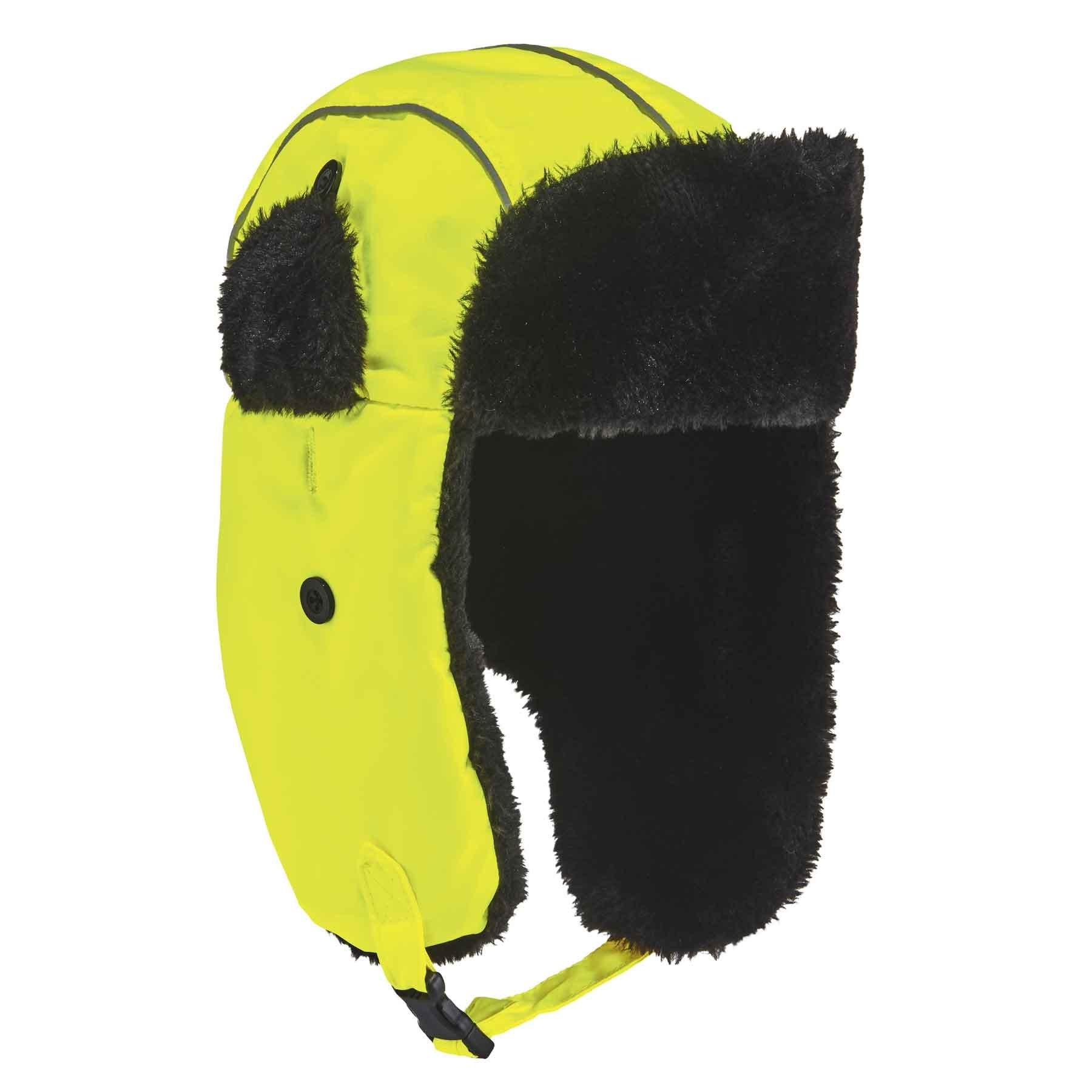 Ergodyne N-Ferno 6802 High Visibility Thermal Winter Trapper Hat, Lime, Large/X-Large