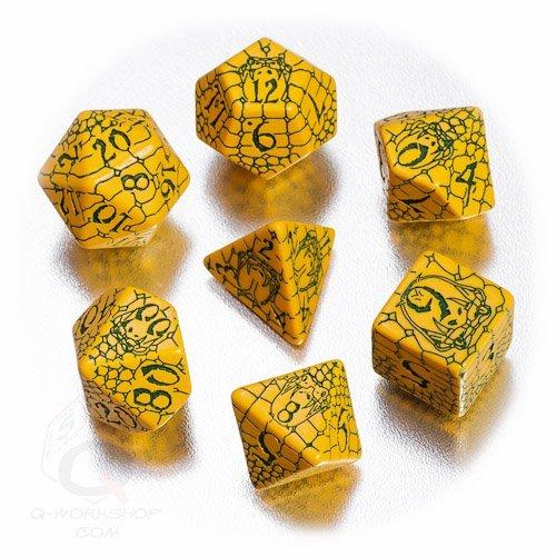 - Q-Workshop Polyhedral 7-Die Set: Pathfinder Serpent's Skull Dice Set (7) Gold & Green Snake Skin Design