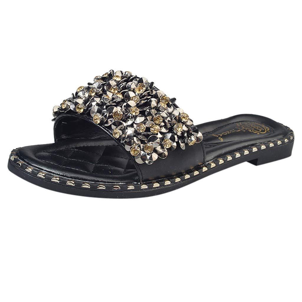 AOJIAN Shoes Womens Sandals Summer Shiny Rhinestone Beach Flip Flop Slide Slipper Clog Mule Black