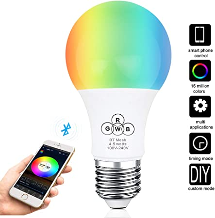 RGBW 4.5W E27 Wifi Smart LED Light Bulb Home Remote Control Adjustable lamp