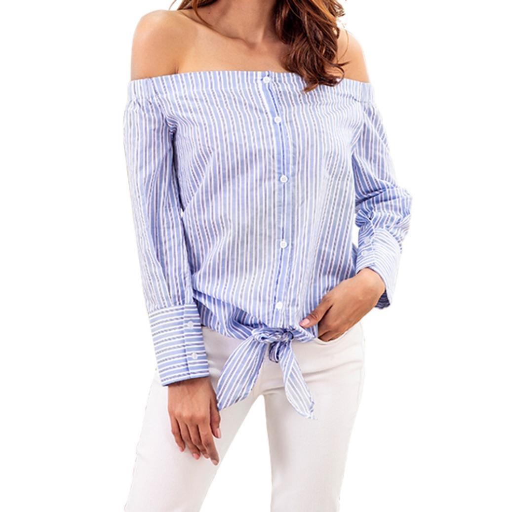Creazrise Womens Casual Blouses Bow Tie Blouse Ladies Stripe Long Sleeve Office Shirt Tops (Blue,M) (Blue, S)