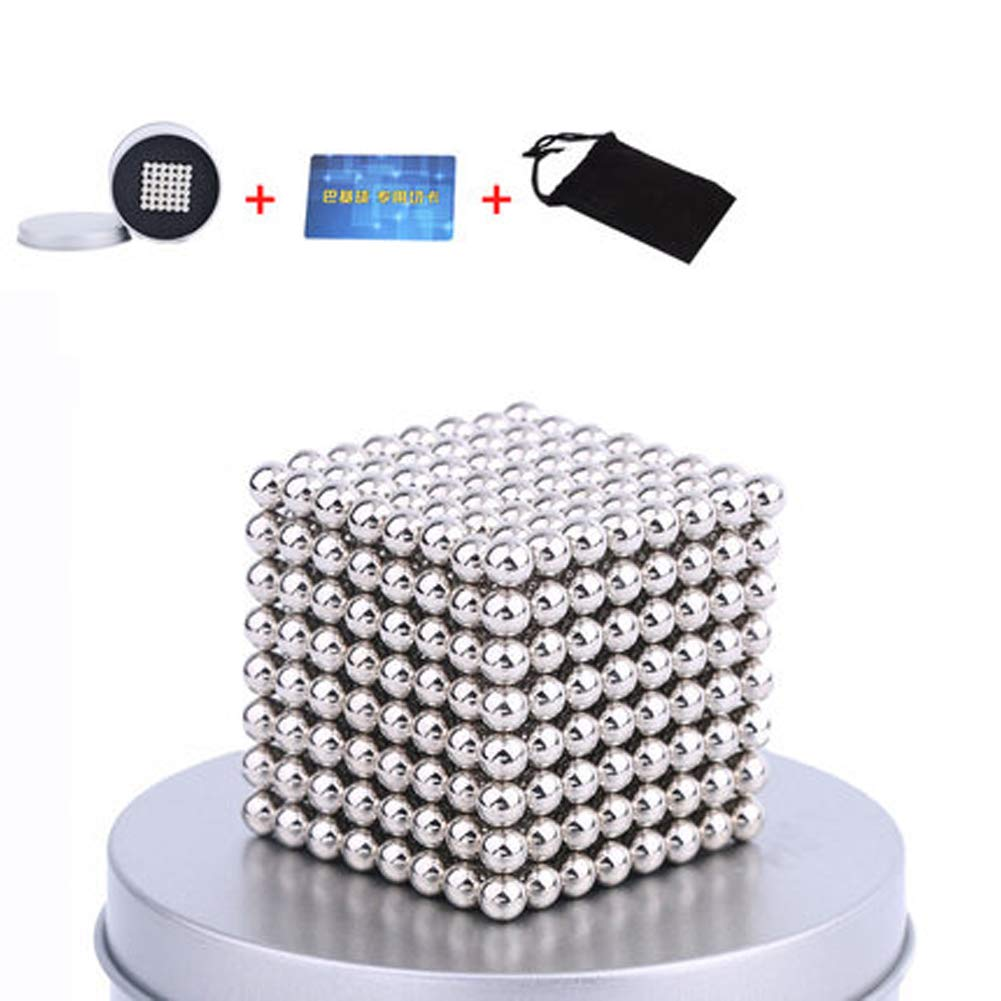 XHN Buck Ball Magic Building Ball Toys, 5mm Balls, Intelligence Development and Stress Relief Desk Toy Construction 3D Puzzle Toy-Silver/512pcs by XHN
