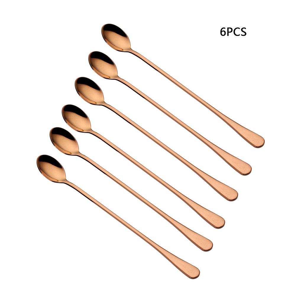 Frjjthchy 6 PCS Ice Tea Spoon Long Handle Rustproof Coffee Spoons Stainless Steel Mixing Spoon Rose Gold