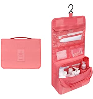 Travel Toiletry Bag Cosmetic Makeup Pouch Clothing Organzier Packing Case (B, Light Red)