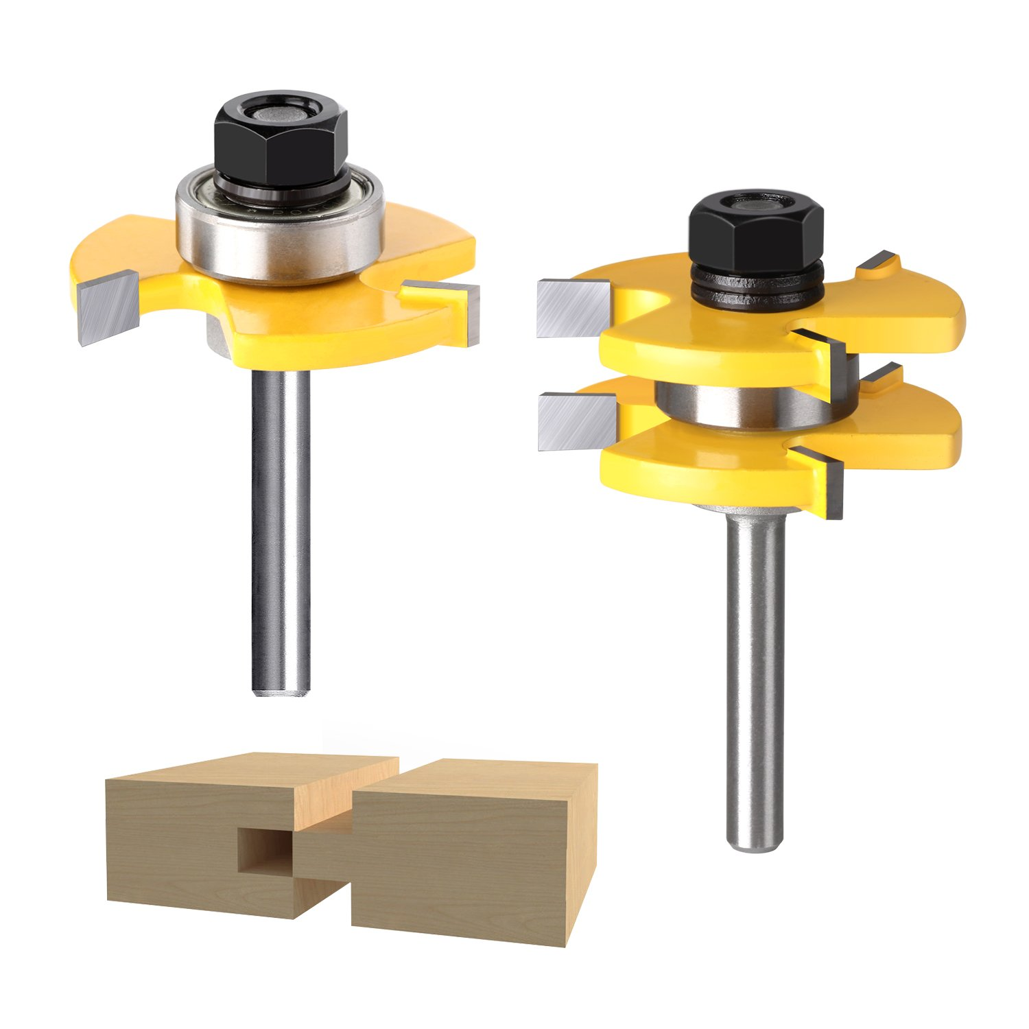 Tongue and Groove Set, Beauty Star 2pcs Grooving Router Bit, Wood Door Flooring 3 Teeth Adjustable with 1/4 Inch Shank T Shape Wood Milling Cutter Woodworking Tools