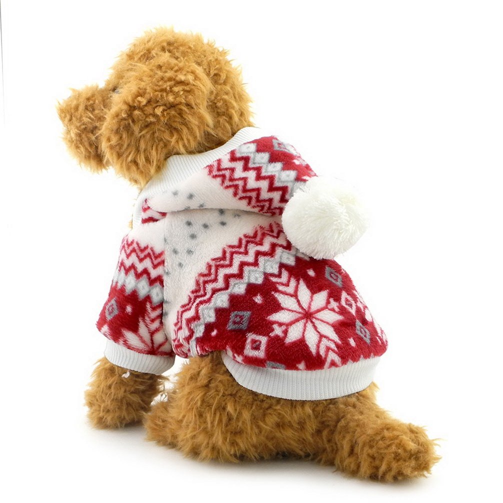 Ranphy Small Dog Sweater for Pets Dog Winter Coat Snowflake Fleece Hoodie Puppy Hooded Jumpsuit Doggy Apparel Red L