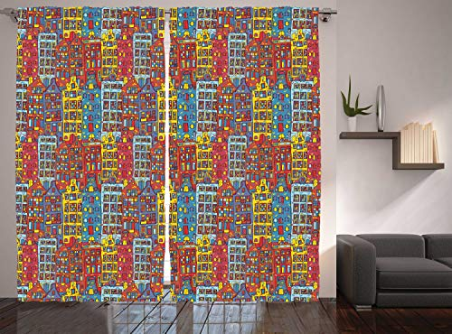 "Ambesonne Cartoon Apartments Curtains, Amsterdam Holland Cityscape Urban Sketch with Colorful Windows Print, Living Room Bedroom Window Drapes 2 Panel Set, 108"" X 84"", Ruby Yellow"