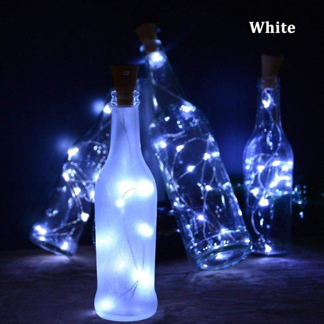 Loveje Bottle Stopper Light LED String Lights Cork Shaped Bottle Stopper Lights Party Decoration Light (Type2 White(Flashing), 20 LED)