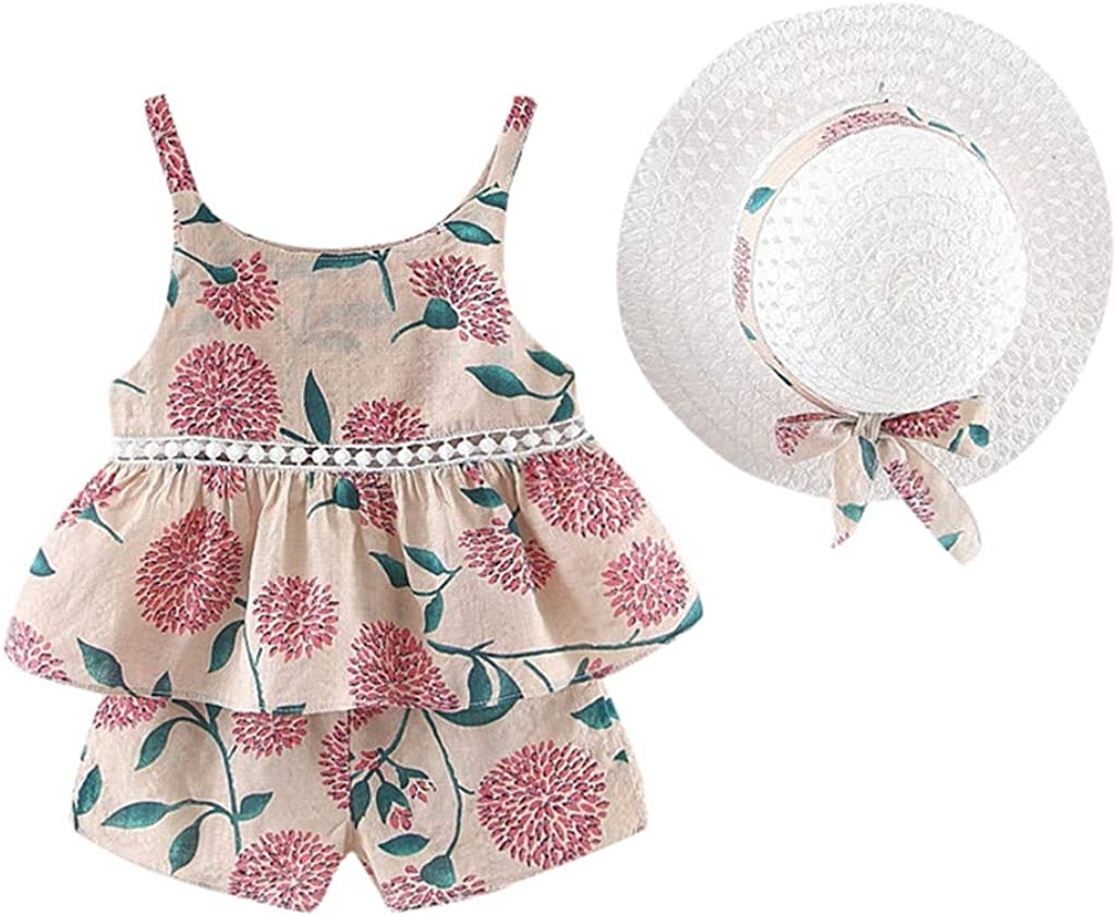 Girls Floral Fruit Print Strap Shirt Dress T-Shirt Tops Shorts +Hat Outfits 6 Months wuayi  Baby Girls Clothes 4 Years