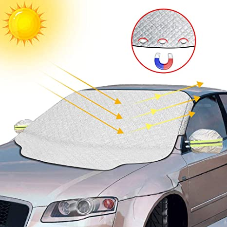 bouclier de givre protection contre la poussi/ère id/éal pour pare-brise de voiture couleur: argent glace pare-soleil Prot/ège pare-brise de voiture Anti-neige