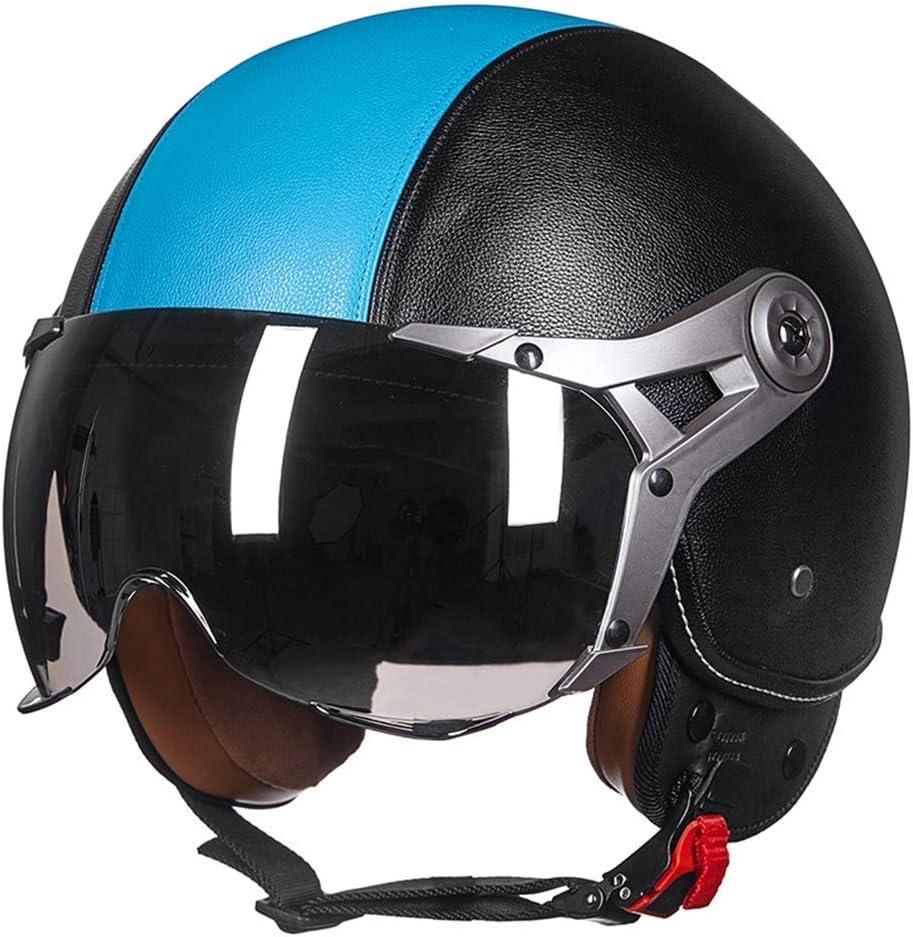 GWM 機関車レトロハーフヘルメット、男性と女性ハーフフェイスパーソナリティクールフェイスヘルメット、レトロトレンドファッションフルフェイスヘルメット (色 : 青, サイズ さいず : L l) 青 L l