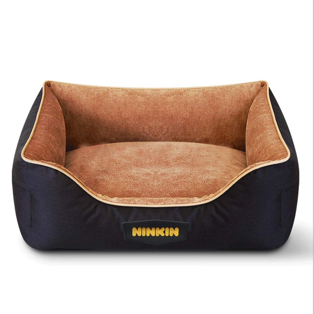 Thick brown S (30X36CM) Thick brown S (30X36CM) Hongyan Pet Beds Square Cattle Thickened Oxford Cloth Removable And Washable Predection Spine Pet Nest Dirt-resistant Wear Zipper Pet Supplies A+ (color   Thick brown, Size   S (30X36CM))