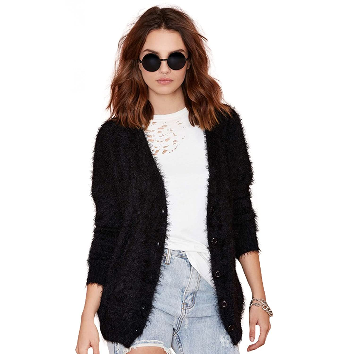 VOGUE CODE Classic Crew Neck Casual Sweater Mohair Knit Cardigan