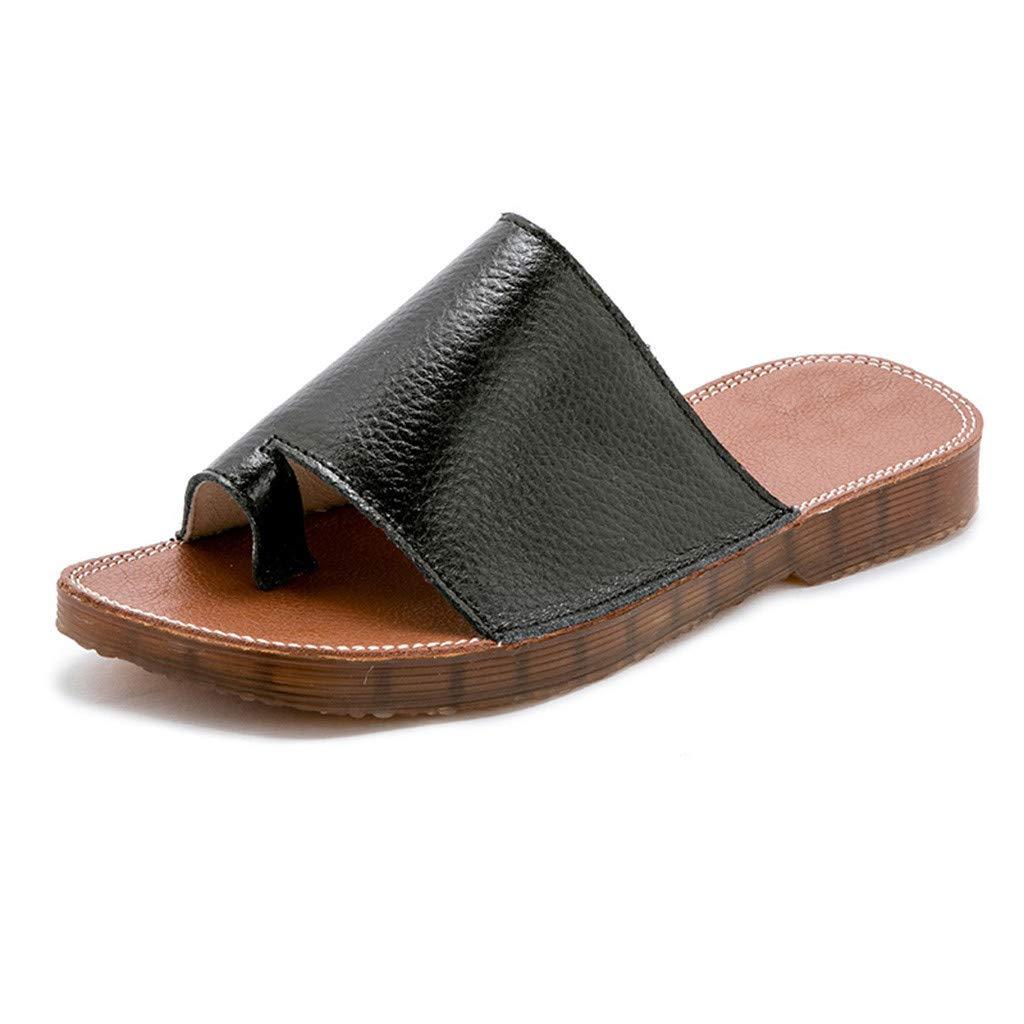 AIEason Women Summer Wedges Platform Sandals Stylish Thong Flip Flops Ultra Comfort Slippers Toe Loop Flat Sandals Black