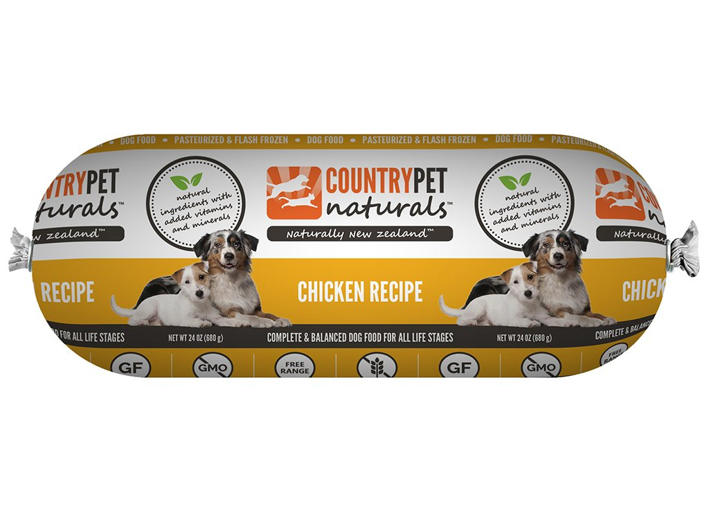 CountryPet Naturals Pasteurized Frozen Dog Food, Chicken Recipe (24 lbs Total, 16 Rolls each 1.5 lbs) - Natural Ingredients with Added Vitamins & Minerals - Made in New Zealand
