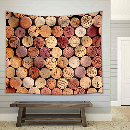 wall26 - Closeup of a Wall of Used Wine Corks. a Random Selection of Use Wine Corks, Some with Vintage Years - Fabric Wall Tapestry Home Decor - 51x60 inches