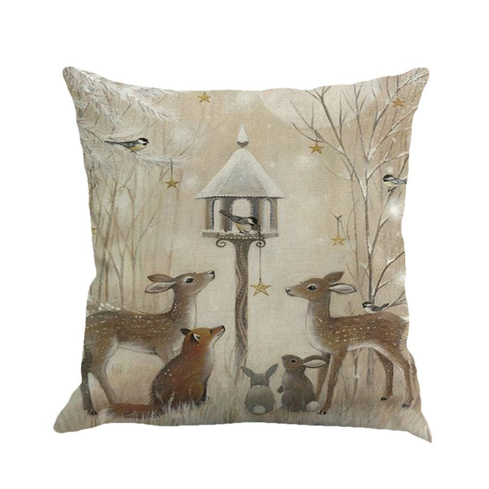 Christmas Pillow Covers Snowman Animal Snow Forest