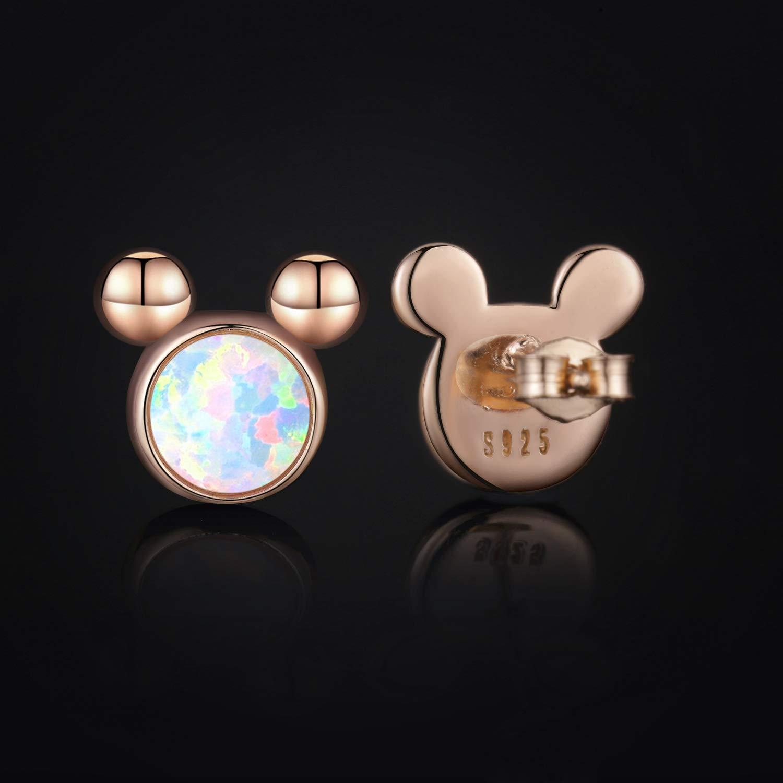 Cuoka Mouse Earrings Mouse Gifts Mouse Jewelry Sterling Silver Opal Earrings for Women Girls