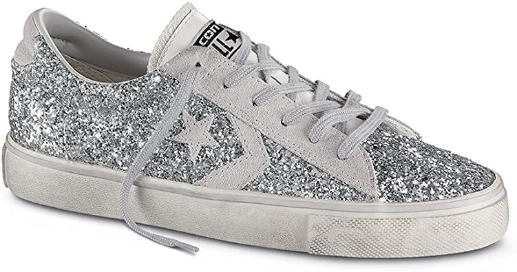 CONVERSE pro leather vulc ox text glitter DONNA SCARPE