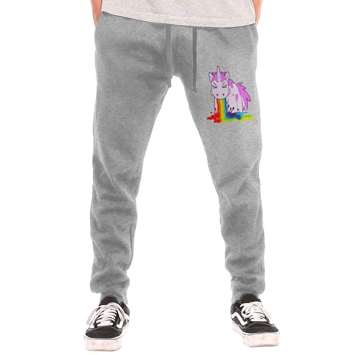 Unicorn I Puke Rainbows Drawstring Waist,100/% Cotton,Elastic Waist Cuffed,Jogger Sweatpants