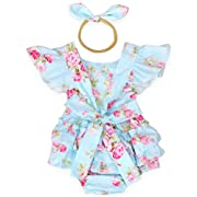 Luckikikids Baby Girls Cotton Vintage Floral Ruffle Rompers Clothing Headband Set (S/3-6M, blue2)
