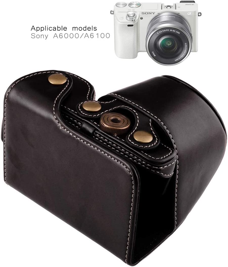 Color : Black YANTAIANJANE Camera Accessories Full Body Camera PU Leather Case Bag with Strap for Sony A6000 A6300 Nex 6 Black