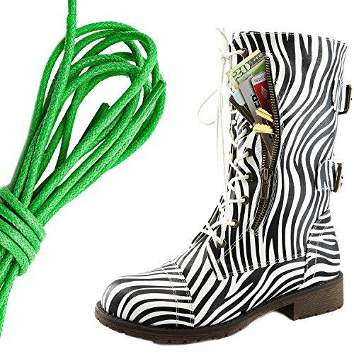 Dailyshoes Donna Militare Allacciatura Fibbia Da Combattimento Stivali Metà Ginocchio Alta Tasca Esclusiva Per Carte Di Credito, Verde Possente Zebra