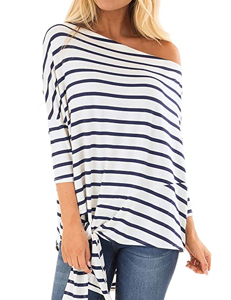 Tobrief Women's Casual Off Shoulder 3/4 Sleeve Striped Tie Front Knot Top Shirts Loose Blouse