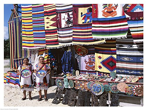 Two Female vendors Dressed in Mayan Costumes displaying Products Art Print, 27 x 20 inches ()