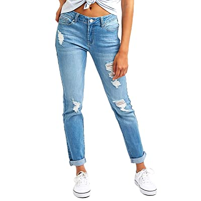 Resfeber Women's Ripped Boyfriend Jeans Cute Distressed Jeans Stretch Skinny Jeans with Hole at Women's Jeans store