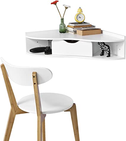 SoBuy® FWT26-W - Escritorio esquinero blanco, mesa triangular de ...