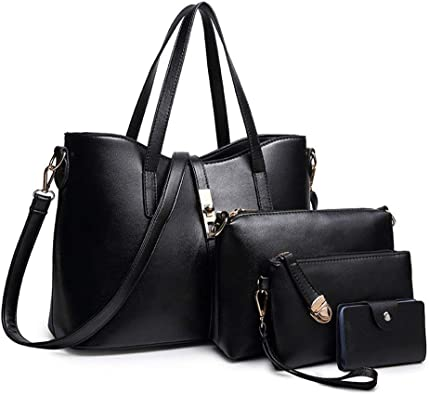 4PCS//Set Women Lady Leather Shoulder Bag Handbag Satchel Tote Purse Card Holder