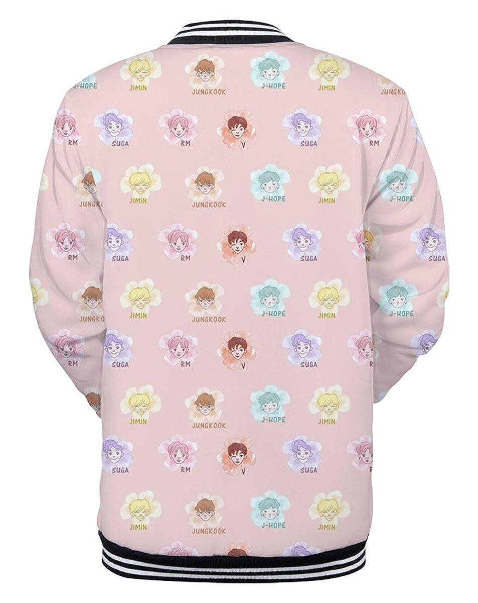 SIMYJOY Unisex BTS Fans Giacca 3D Print Portrait Maglione Cool KPOP Fashion Felpa Jimin V Suga Young Kook Streetwear per Uomo Donna Teenager