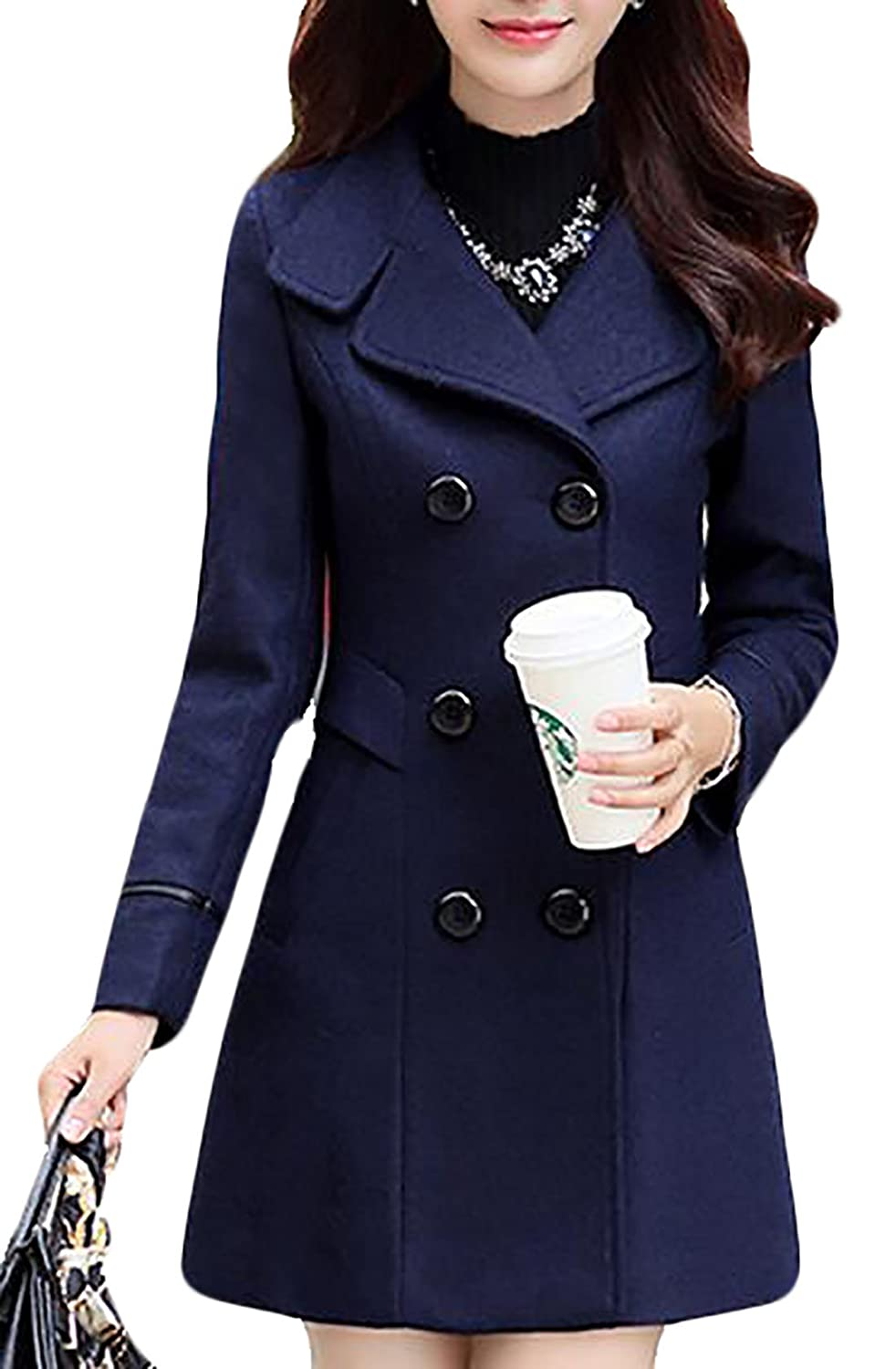 YUNY Womens Slim Thick Long Sleeve Double-Breasted Stylish Pea Coat