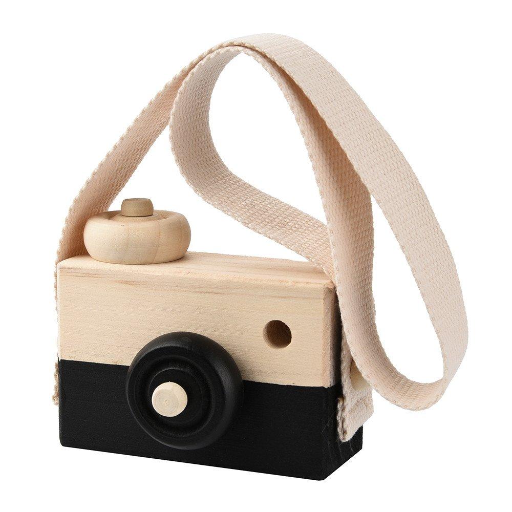 Dartphew Toys, ファッション アウトドア 軽量 木製 おもちゃ カメラ キッズ クリエイティブ ネック ハンギング ロープ おもちゃ 写真撮影小道具 赤ちゃんや子供へのプレゼントに最適 (ニュージーランドの松の木を使用) B07FBL4C2M ブラック ブラック