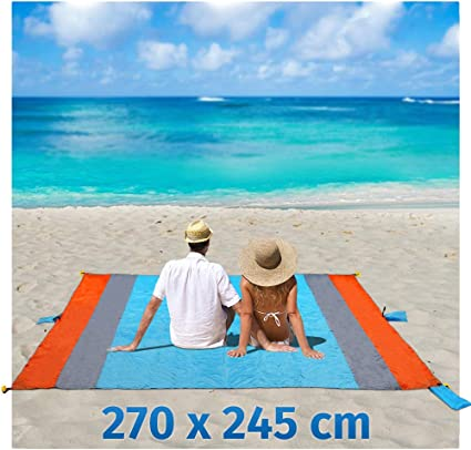 Playa Manta Arena Libre XXL 270 x 245 cm Picnic Camping – Manta Toalla de Playa Bolsa de portátil Impermeable con 6 Funda y 6 Tienda stöpse Secado ...