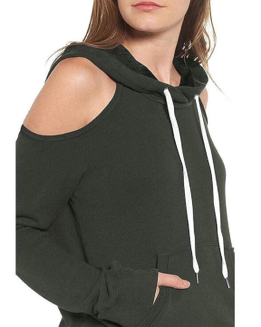 Cromoncent Womens Thin Fall Cold Shoulder Long Sleeve Hooded Sweatshirt Hoodies
