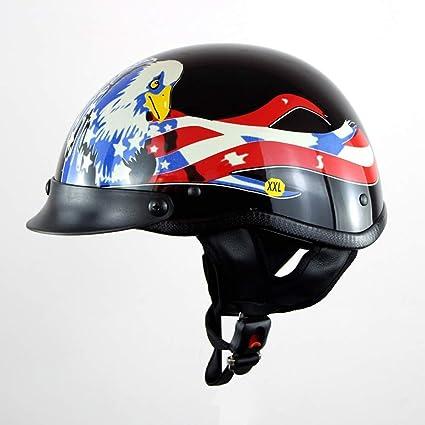 JL-Q Casco De Moto Coche Eléctrico Harley-Estilo Retro Personalidad Medio Casco Al