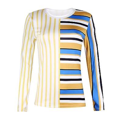 Discount Boutique Camisa de Mujer con Costuras a Rayas Jersey de ...