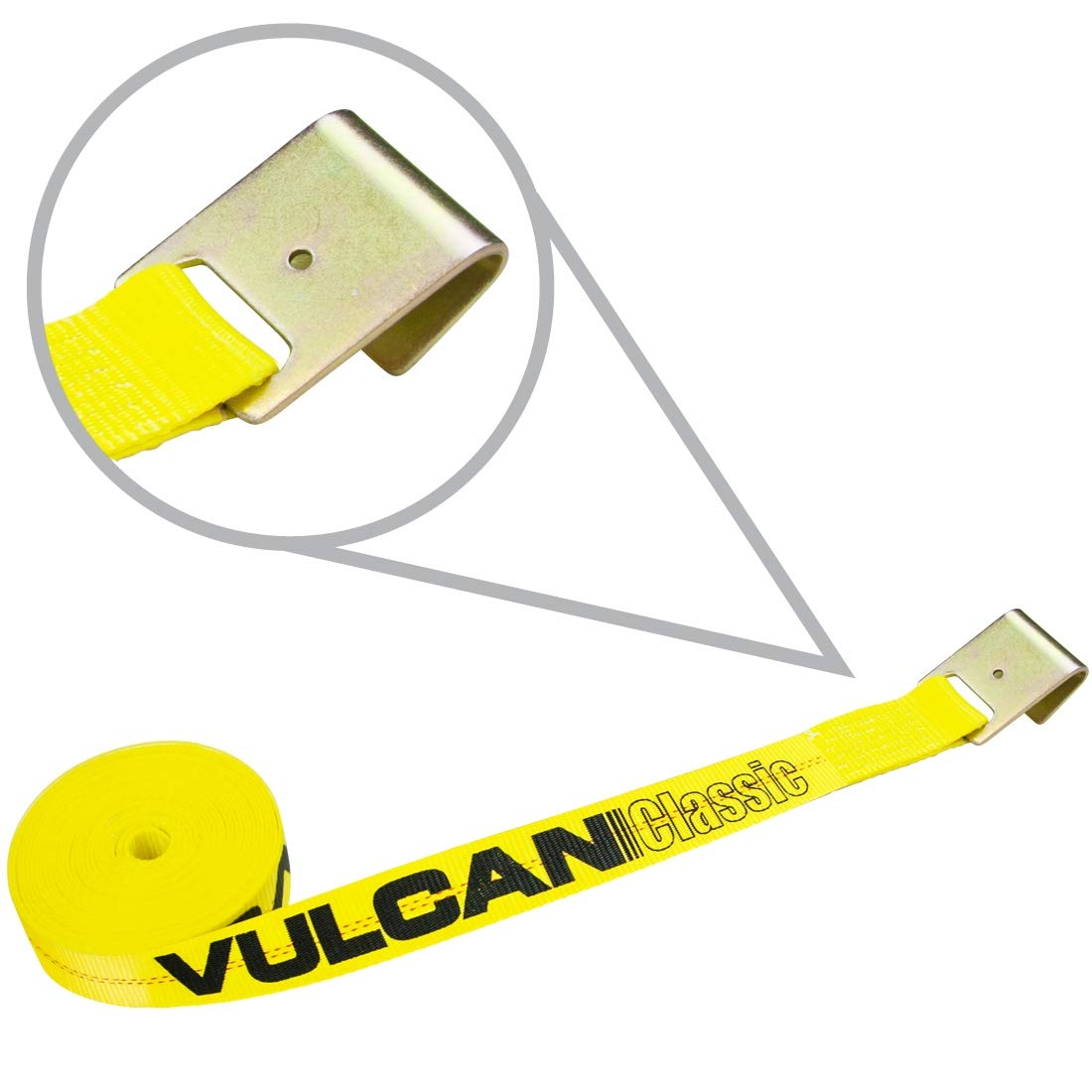 Safe Working Load Vulcan Classic Winch Strap with Flat Hook 3,300 lbs 2 x 27- Pack of 4