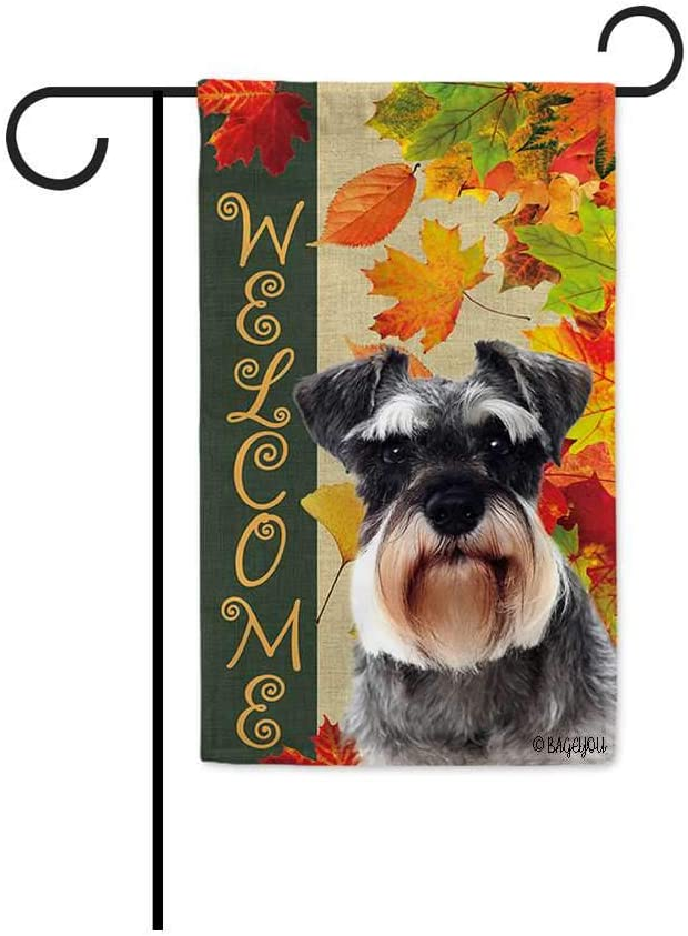 BAGEYOU Welcome Fall with My Favorite Dog Schnauzer Garden Flag Maple Leaf Harvest Season Rustic Decor Yard Banner for Outside 12.5X18 Inch Printed Double Sided