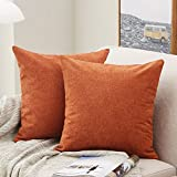 MERNETTE Pack of 2, Thick Chenille Decorative Square Throw Pillow Cover Cushion Covers Pillowcase, Home Decor Decorations for Sofa Couch Bed Chair 16x16 Inch/40x40 cm (Burnt Henna)