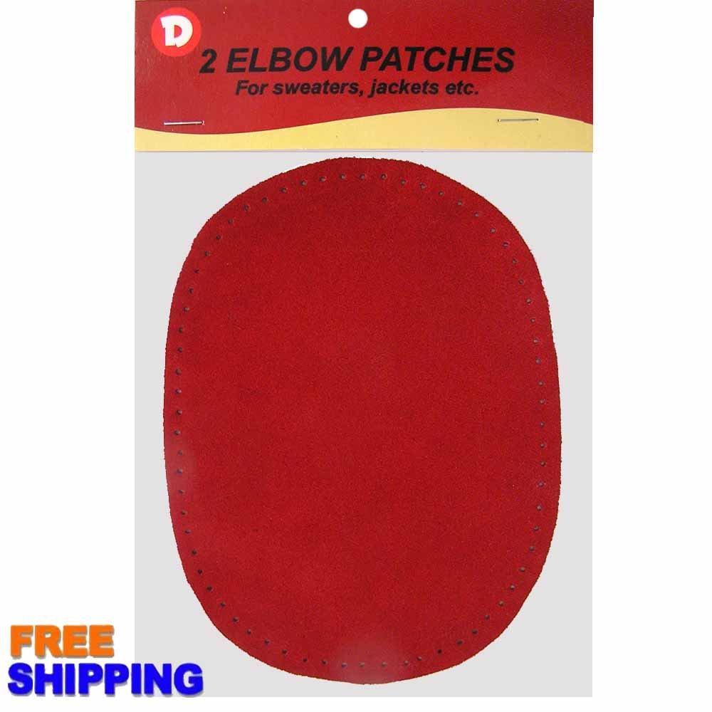 2/pkg Sew-on 4 1/2x5 3/4 Dark Red Suede Elbow Patches Dimecrafts