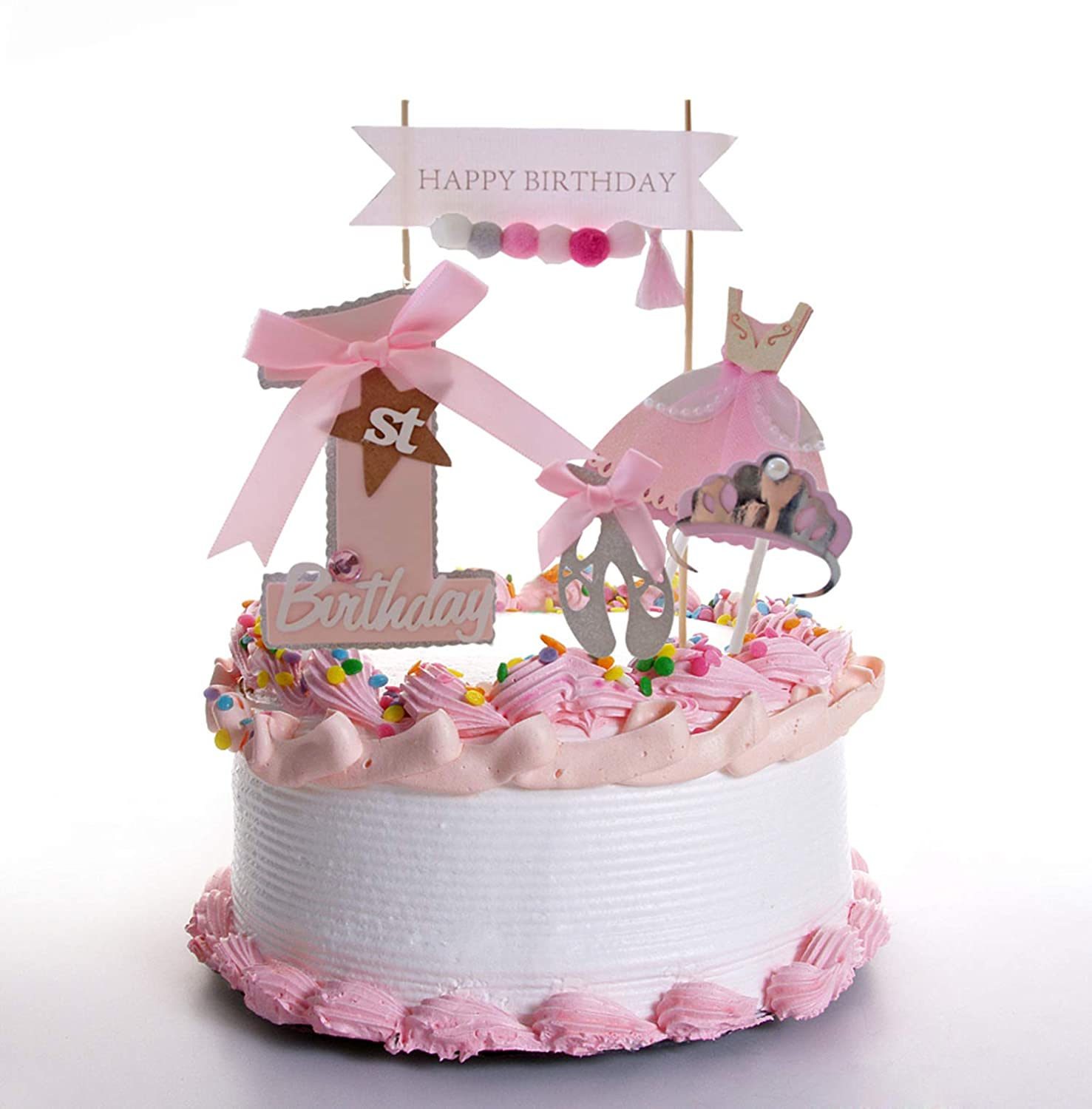 Amazon Com First Birthday Cake Topper Set For Baby Girl Pink Bow