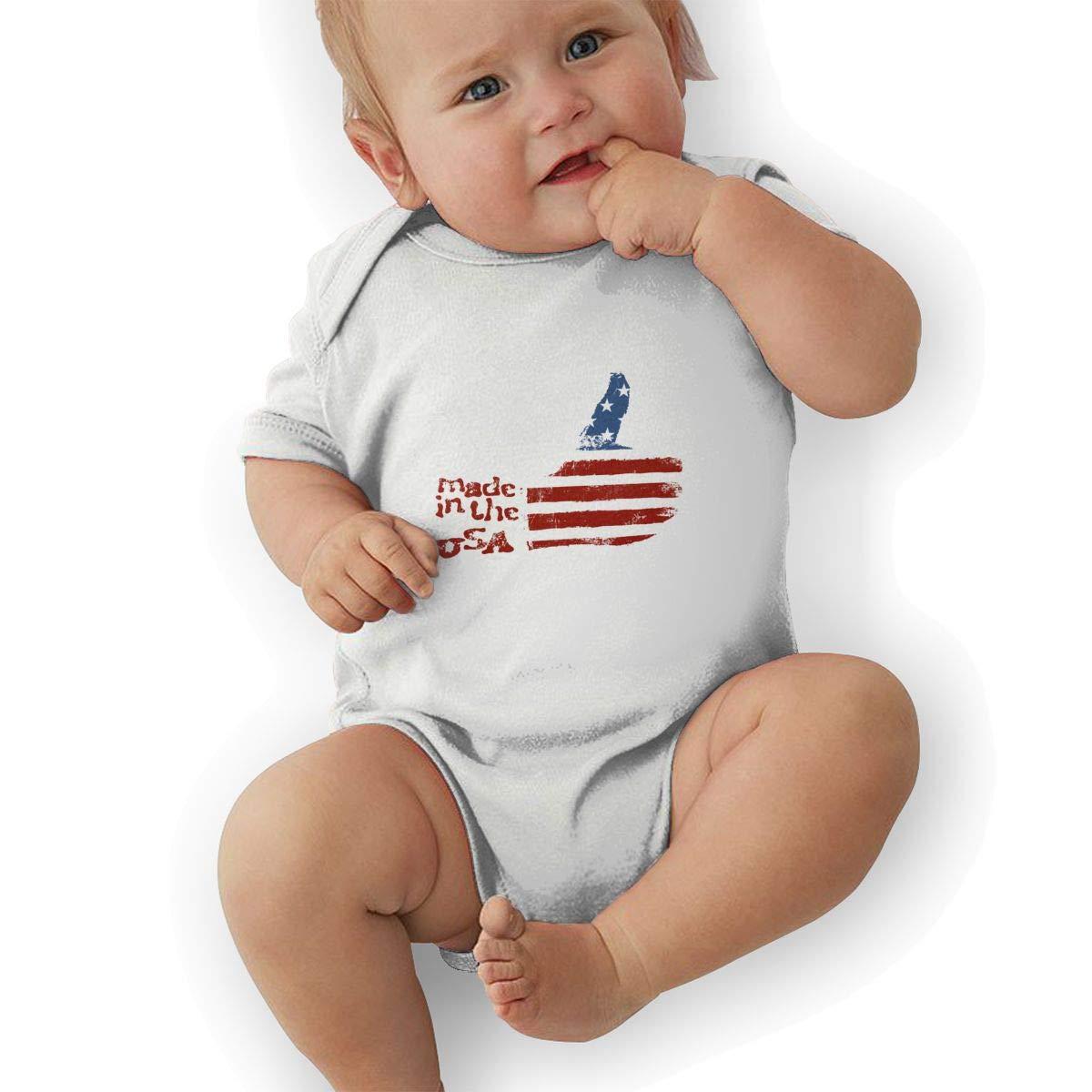 Newborn Baby Girls Bodysuit Short-Sleeve Onesie Made in The USA Print Jumpsuit Autumn Pajamas