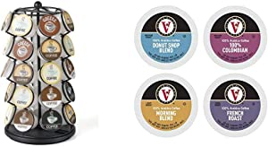 K-Cup Carousel - Holds 35 K-Cups in Black & Donut Shop, Morning Blend, 100% Colombian, and French Roast Variety Pack for Keurig 2.0 Brewers, 42 Count, Victor Allen's Coffee Single Serve Coffee Pod