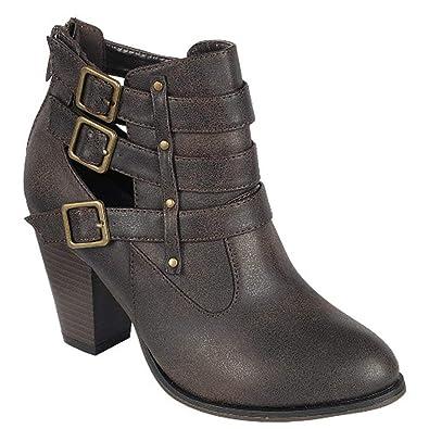 146c4eafc370 Forever Women s Buckle Strap Block Heel Ankle Booties