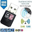 OZSTOCK® Dual Band 600Mbps 2.4GHz 5GHz USB WiFi Wireless Dongle AC600 Lan Network Adapter
