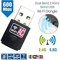 Dual Band 600Mbps 2.4GHz 5GHz USB WiFi Wireless Dongle AC600 Lan Network Adapter