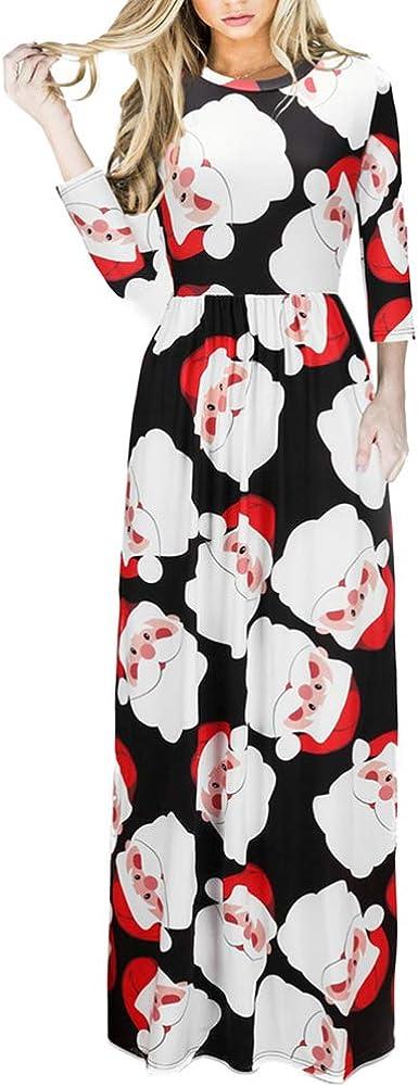 TALLA (EU48-50)XXL. Lover-Beauty Vestido Largo Floral Print Casual para Noche Fiesta Playa Fiesta Manga Larga Cuello Redondo Vestido Verano Cuello V Multicolor Navidad (EU48-50)XXL